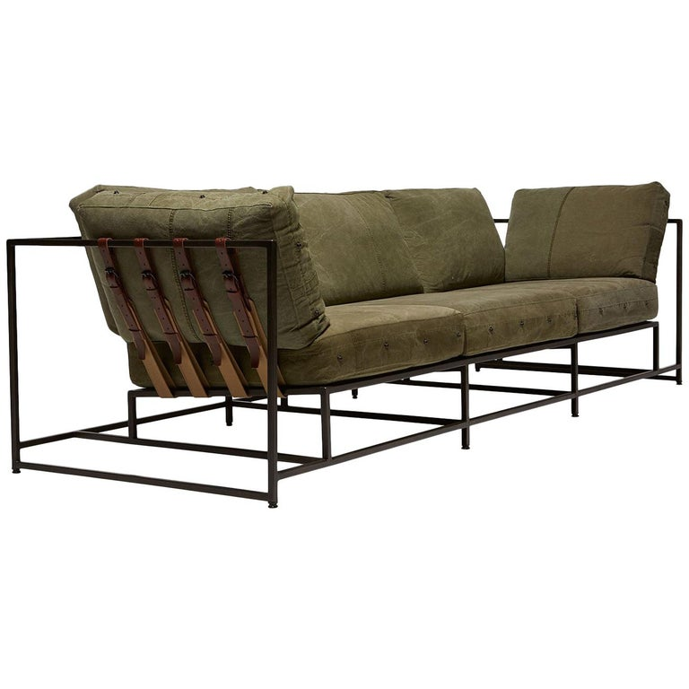 Military Canvas and Blackened Steel Sofa V1 For Sale
