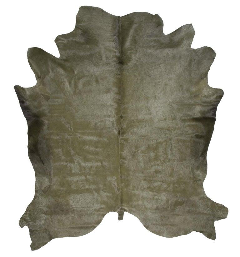 Adirondack Military Green Cowhide Rug For Sale