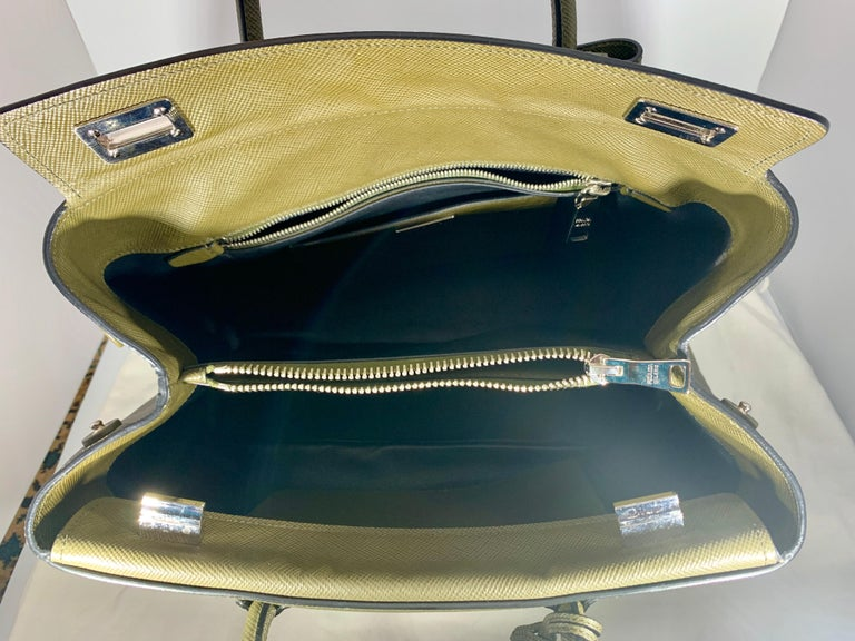Military Green Prada Saffiano Cuir Large Twin Tote Bag, Brand New In New Condition For Sale In Scarsdale, NY
