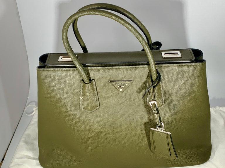 Military Green Prada Saffiano Cuir Large Twin Tote Bag, Brand New For Sale 1