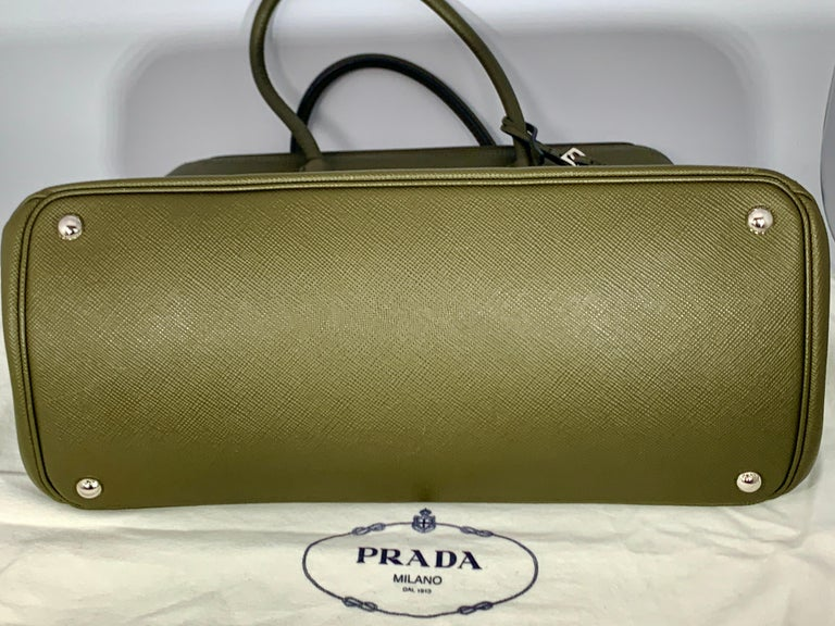 Military Green Prada Saffiano Cuir Large Twin Tote Bag, Brand New For Sale 2
