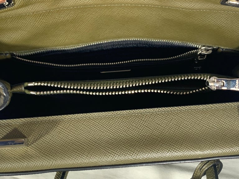 Military Green Prada Saffiano Cuir Large Twin Tote Bag, Brand New For Sale 3