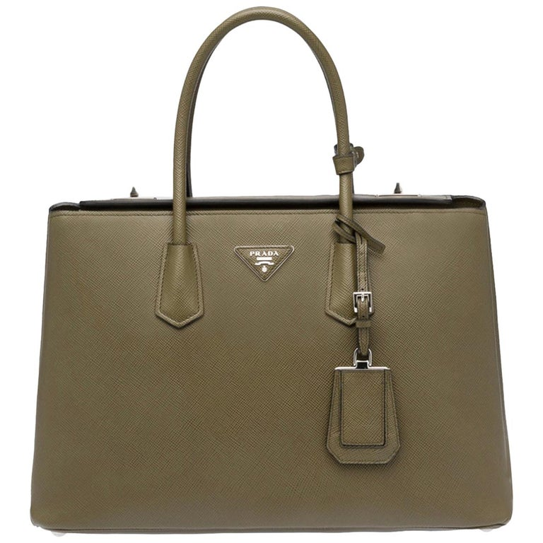 Military Green Prada Saffiano Cuir Large Twin Tote Bag, Brand New For Sale