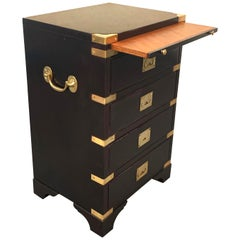 Military Mahogany Brass Case with Writing Desk, English Chest of Drawers, 1910