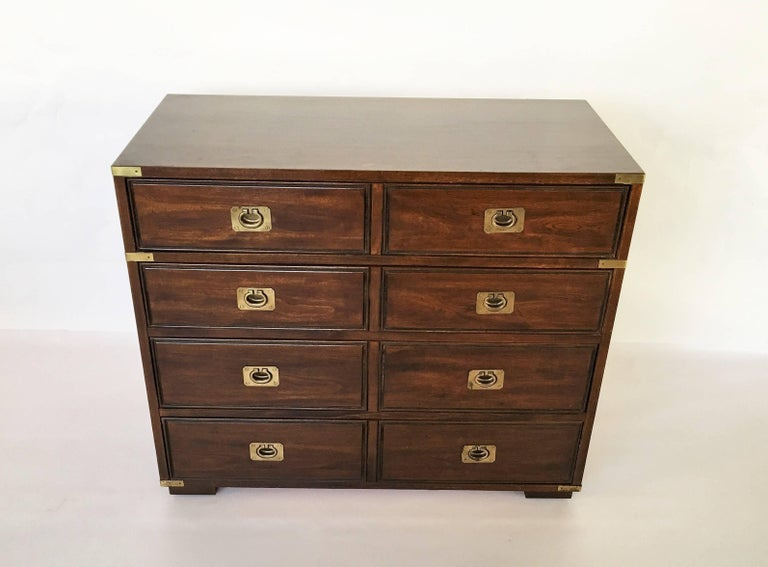 Military Officer's Campaign Style Bachelor Chest or Dresser In Good Condition For Sale In Dallas, TX