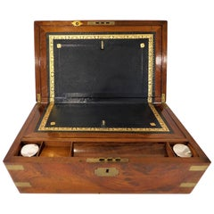 Military Style Victorian Lap Desk Writing Slope Box, circa 1850