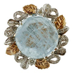 Milk Aquamarine, Diamonds, 14 Karat Rose and White Gold Retro Ring