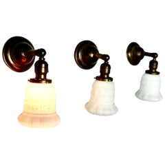 Milk Glass and Brass Wall Sconces, circa 1920