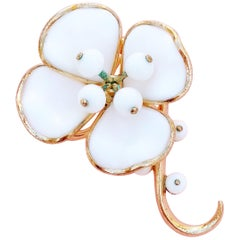 Milk Glass Magnolia Flower Brooch by Alfred Philippe for Crown Trifari, 1953
