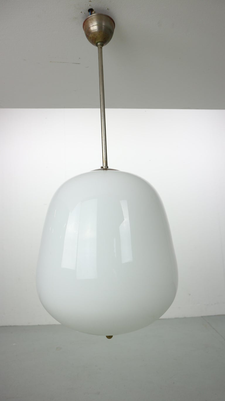 Milk Glass Vintage Pendant from an Old Church, 1950s For Sale 4