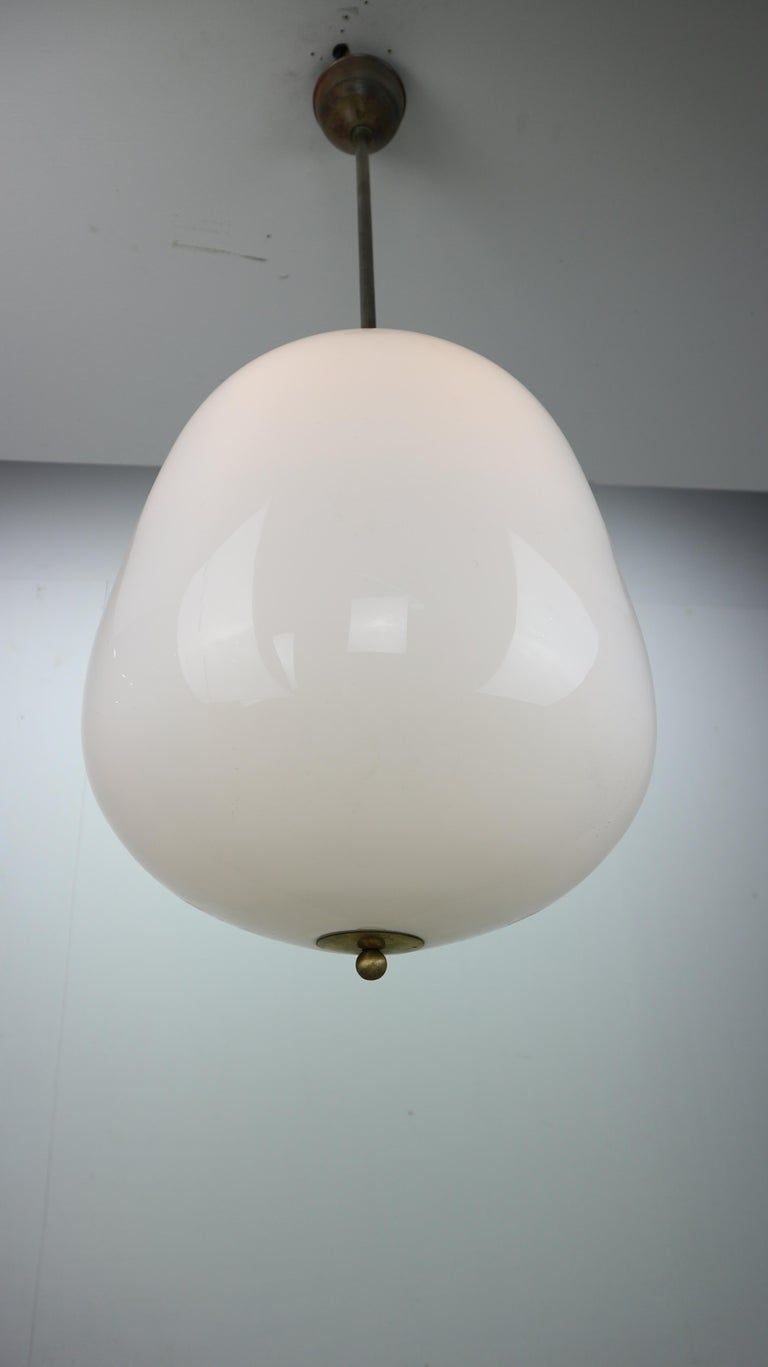 Milk Glass Vintage Pendant from an Old Church, 1950s For Sale 2