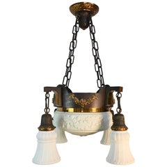 Milkglass Bowl Chandelier with 4 Shades