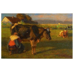 """Milking Time"" '1906' Landscape Painting of Cows by Albert Reibmayr 'Austrian'"