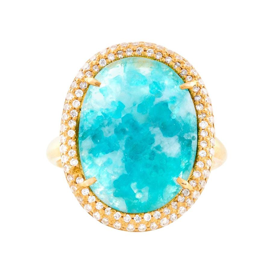 Milky Brazilian Paraiba Ring with Diamond Pave in 18k Yellow Gold
