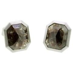 Milky Dark Grey Octagonal Rosecut Diamond Cufflinks
