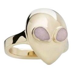 Milky Way Alien Pinky, Limited Edition 9 Karat Yellow Gold White Enamel Ring