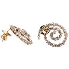 Milky Way Spiral Earrings in 18 Karat Gold Set with Diamonds