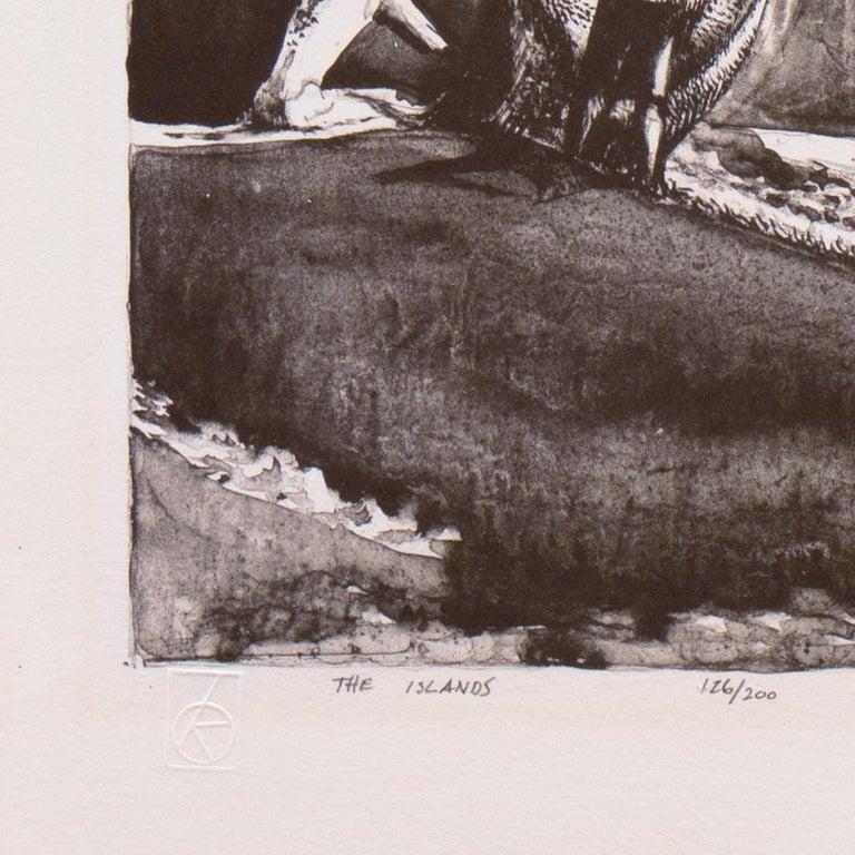 'The Islands', LACMA, Whitney Museum, Mid-century tonalist stone lithograph - Gray Figurative Print by Millard Sheets