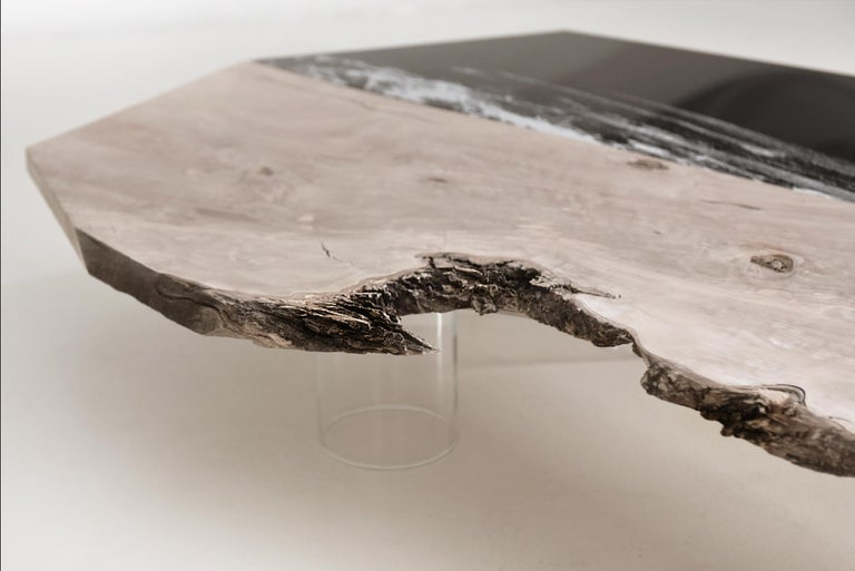 Italian Coffee table Aquae. Millenary Olive Wood, and engraved black plexiglass  For Sale