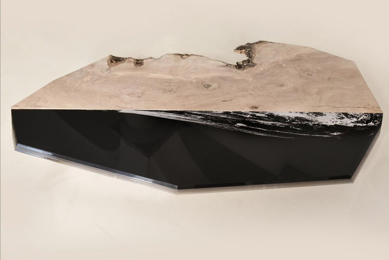 Hand-Crafted Coffee table Aquae. Millenary Olive Wood, and engraved black plexiglass  For Sale
