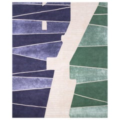 Millenium Bridge - Colorful Modern Hand Knotted Wool Silk Rug
