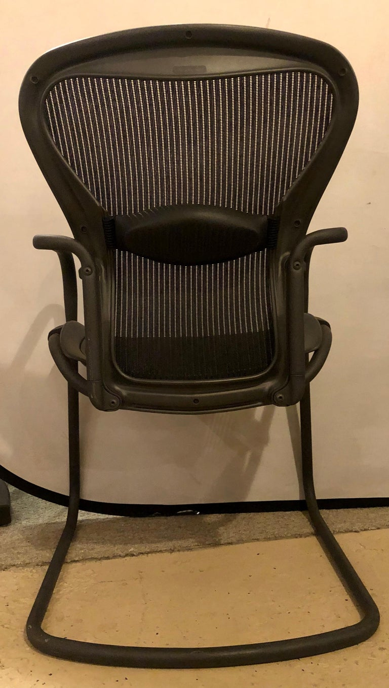 Metal Miller Eames Model EA 435 Executive Chair Aluminum Group Black Leather Soft Pad