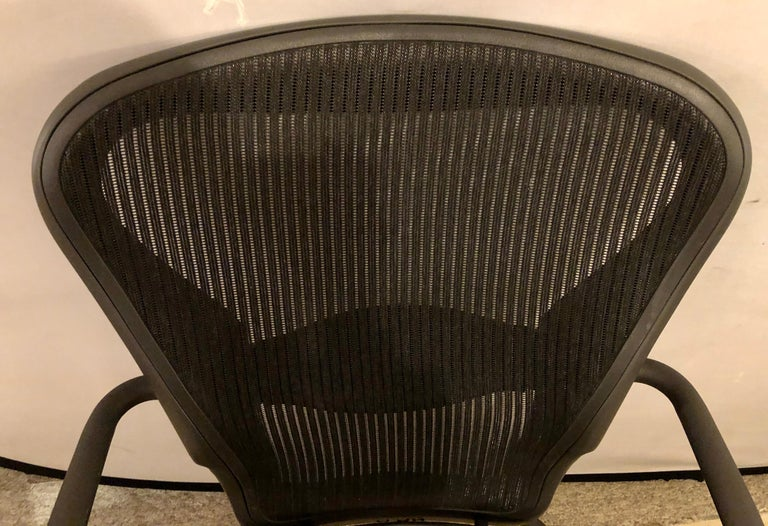 Miller Eames Model EA 435 Executive Chair Aluminum Group Black Leather Soft Pad 2