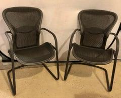 Miller Eames model EA 435 Executive Chair Aluminum Group Black Leather Soft Pad