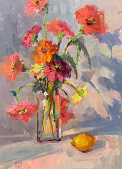And a Lemon by Millie Gosch, Framed Vertical Impressionist Still-Life Painting