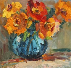 Blue Vase by Millie Gosch, Small Framed Oil on Board Still-Life Painting