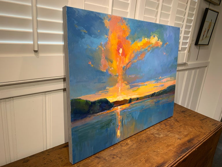 Chasing The Sun by Millie Gosch, Horizontal Impressionist Landscape Oil Painting For Sale 3