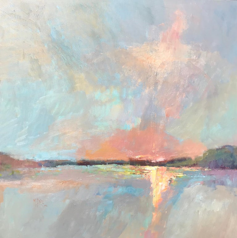 'Evening Grace' is a large framed Impressionist oil on canvas plein-air landscape painting of horizontal format created by American artist Millie Gosch in 2019. Featuring a palette mostly made of orange, blue, and purple tones, the painting depicts