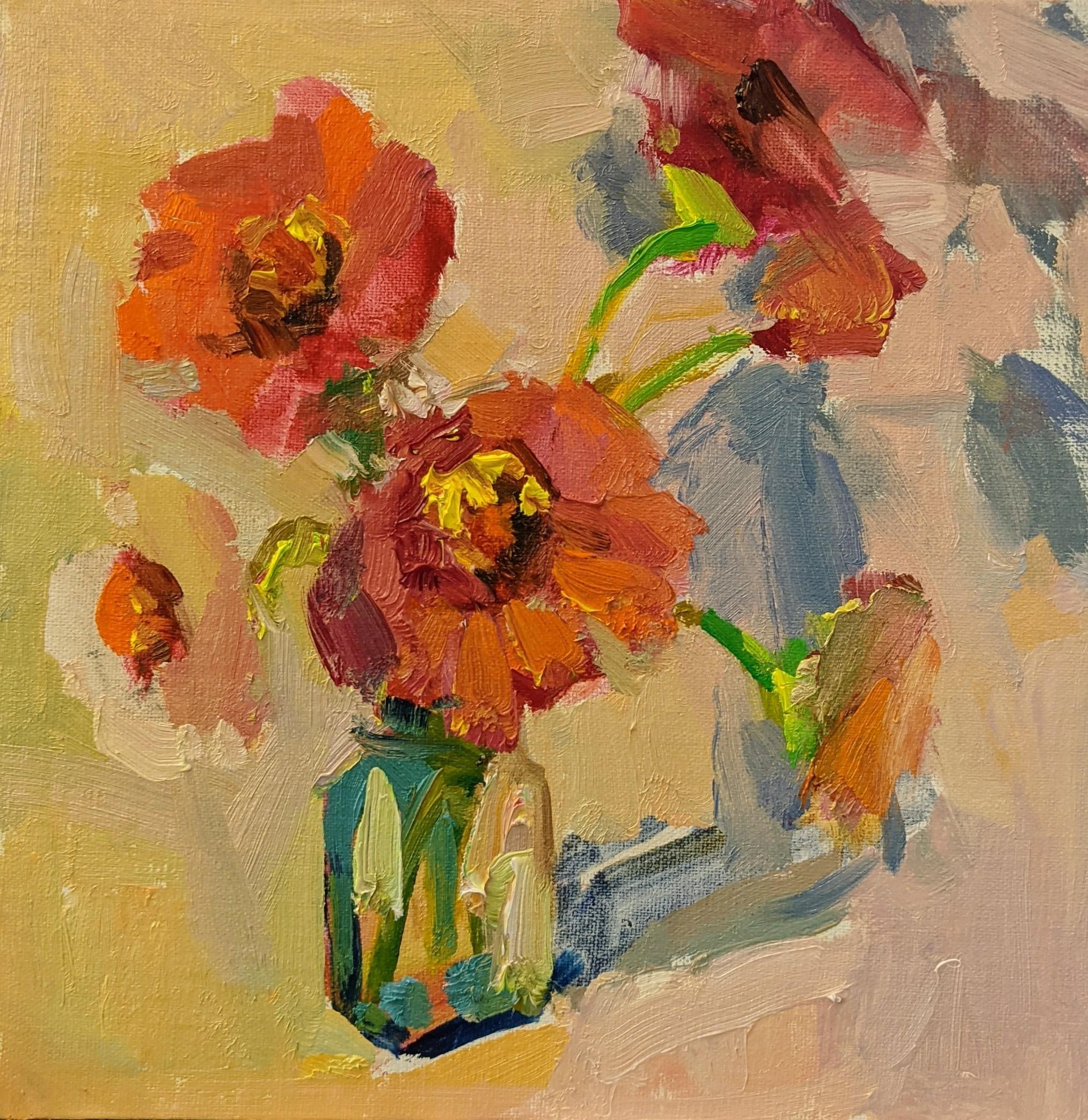 Fleurs I by Millie Gosch, Small Framed Oil on Board Still-Life Painting