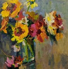 Fleurs II by Millie Gosch, Small Framed Oil on Board Still-Life Painting