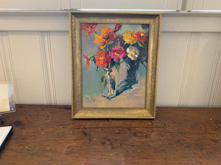 Fleurs III by Millie Gosch, Small Framed Oil on Board Still-Life Painting For Sale 1