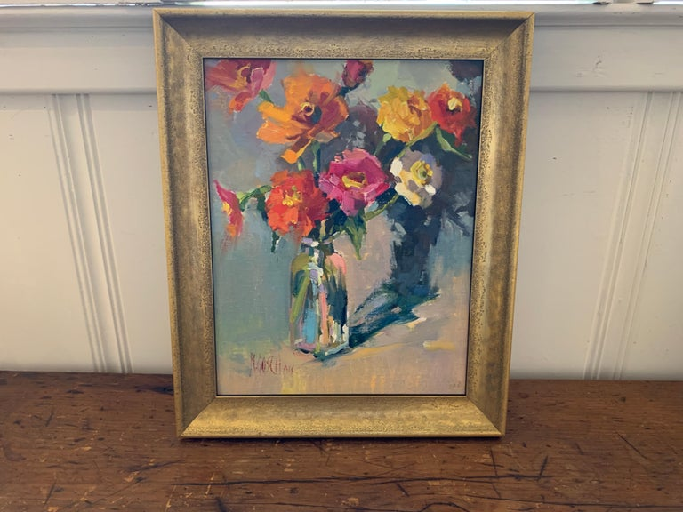 Fleurs III by Millie Gosch, Small Framed Oil on Board Still-Life Painting For Sale 2