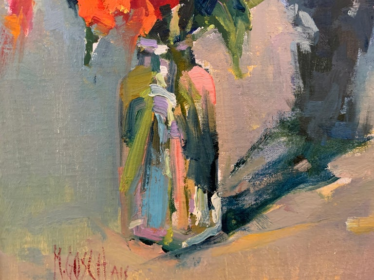 Fleurs III by Millie Gosch, Small Framed Oil on Board Still-Life Painting For Sale 4