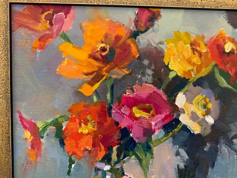 Fleurs III by Millie Gosch, Small Framed Oil on Board Still-Life Painting For Sale 5
