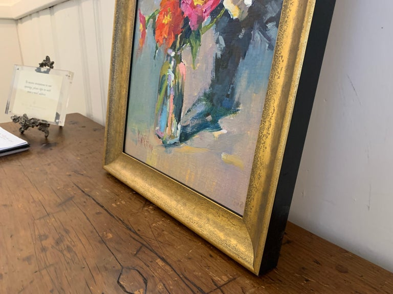 Fleurs III by Millie Gosch, Small Framed Oil on Board Still-Life Painting For Sale 6