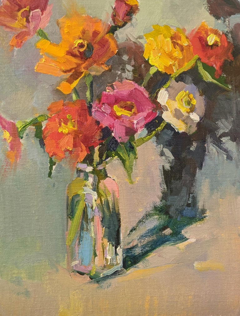 'Fleurs III is a small framed Impressionist oil on board still-life painting created by American artist Millie Gosch in 2021. Featuring a palette made of red, orange, pink, blue and purple tones among others, this still-life painting depicts a small