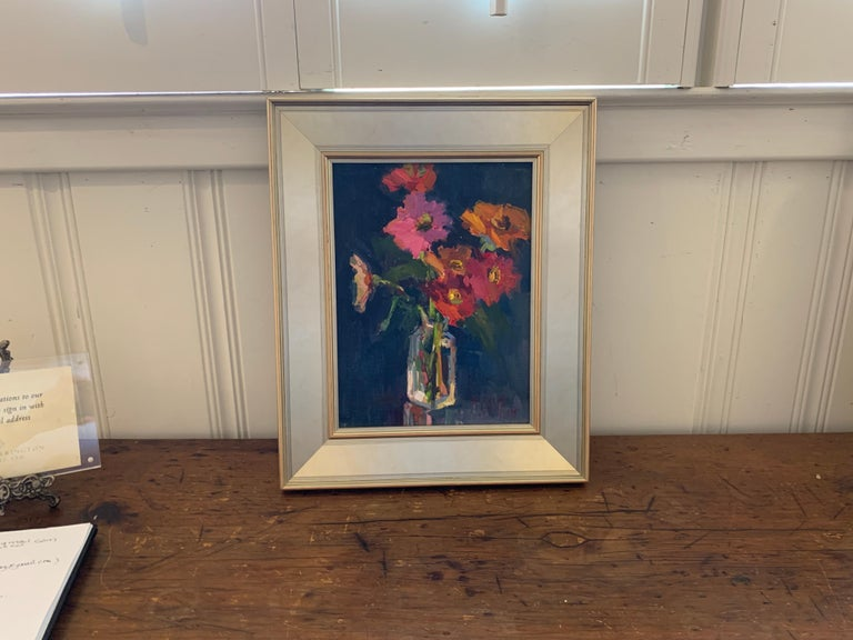 Fleurs V by Millie Gosch, Small Framed Oil on Board Still-Life Painting For Sale 1