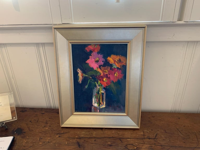 Fleurs V by Millie Gosch, Small Framed Oil on Board Still-Life Painting For Sale 2