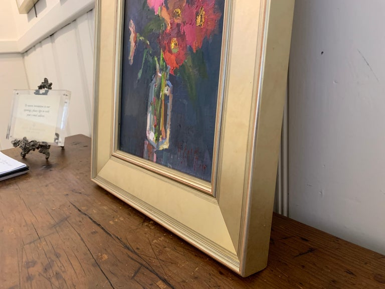 Fleurs V by Millie Gosch, Small Framed Oil on Board Still-Life Painting For Sale 3