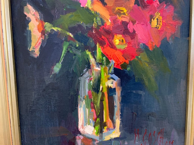 Fleurs V by Millie Gosch, Small Framed Oil on Board Still-Life Painting For Sale 4