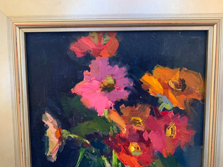 Fleurs V by Millie Gosch, Small Framed Oil on Board Still-Life Painting For Sale 5