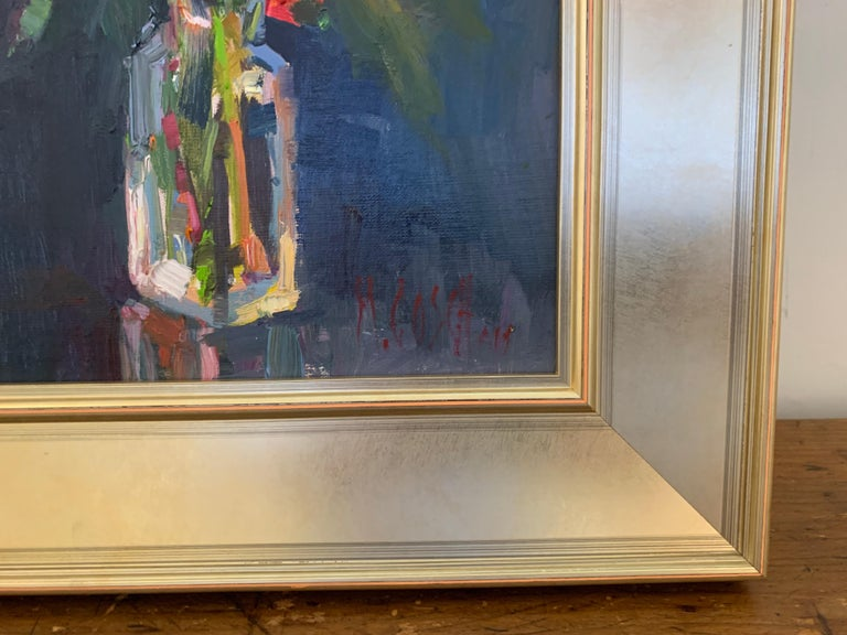 Fleurs V by Millie Gosch, Small Framed Oil on Board Still-Life Painting For Sale 6