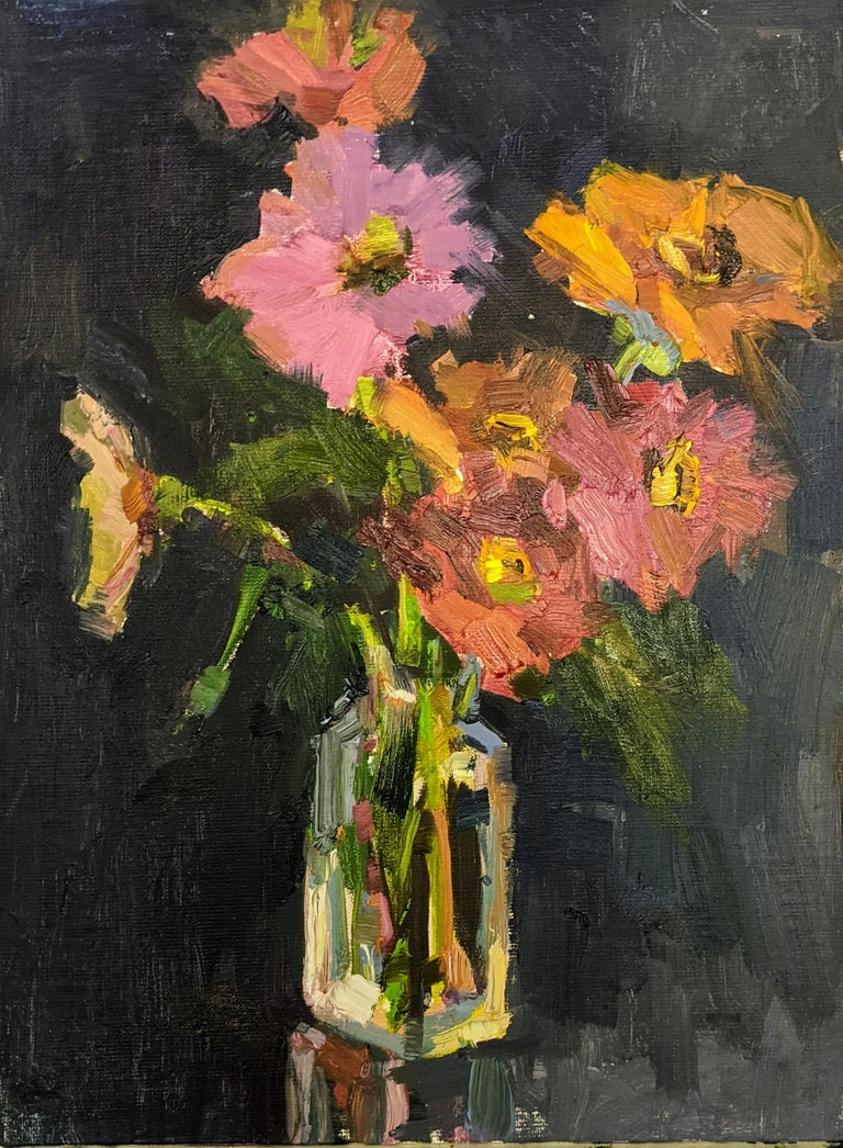 """'Fleurs V"""" is a small framed Impressionist oil on board still-life painting created by American artist Millie Gosch in 2021. Featuring a palette made of red, orange, pink, blue and purple tones among others, this still-life painting depicts a small"""