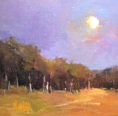 Full Moon, Square Framed Impressionist Plein Air Landscape Oil on Board Painting