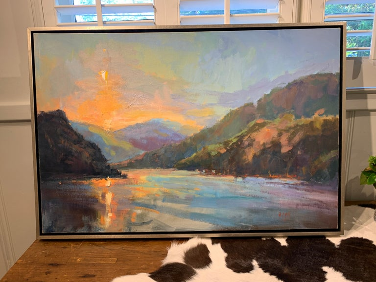 Lakeside Sundown by Millie Gosch,  Framed Impressionist Oil on Canvas Painting 3
