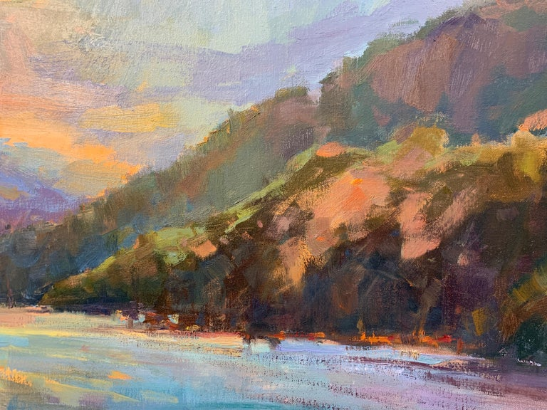 Lakeside Sundown by Millie Gosch,  Framed Impressionist Oil on Canvas Painting 5